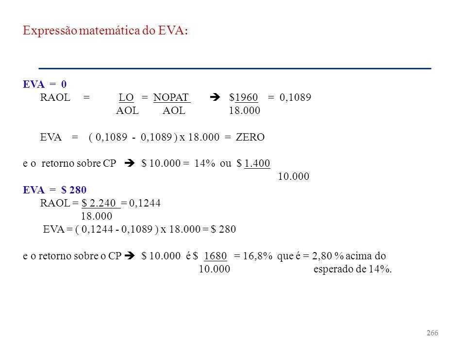 Expressão matemática do EVA: