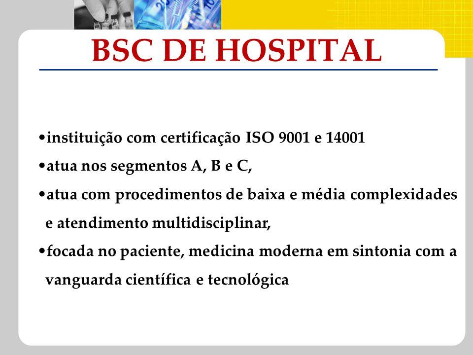 BSC DE HOSPITAL instituição com certificação ISO 9001 e 14001