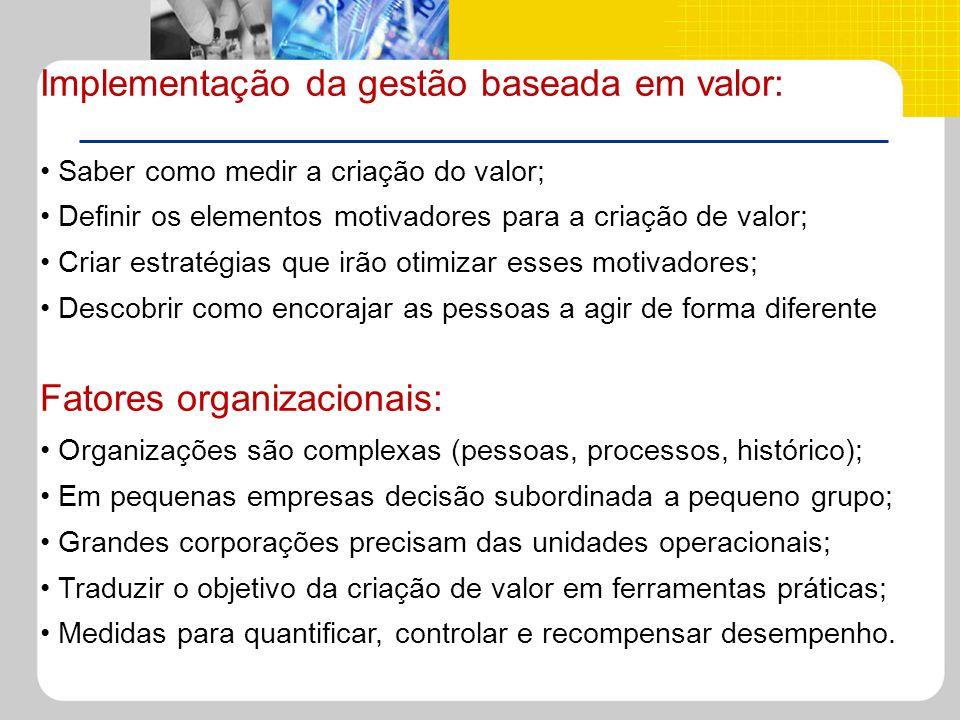 Implementação da gestão baseada em valor: