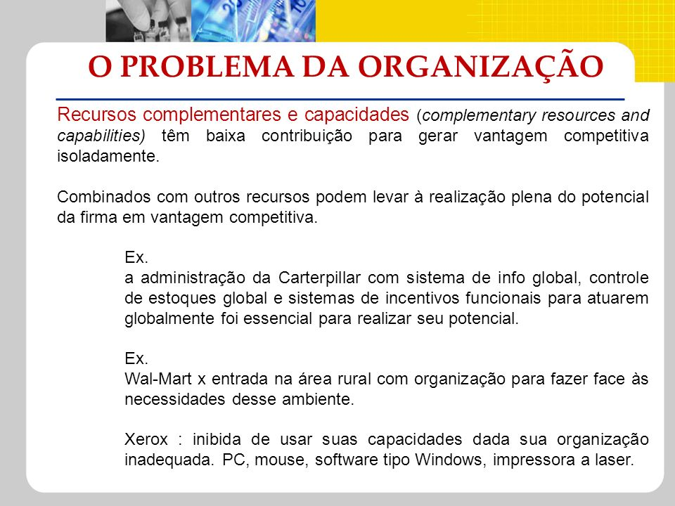 O PROBLEMA DA ORGANIZAÇÃO