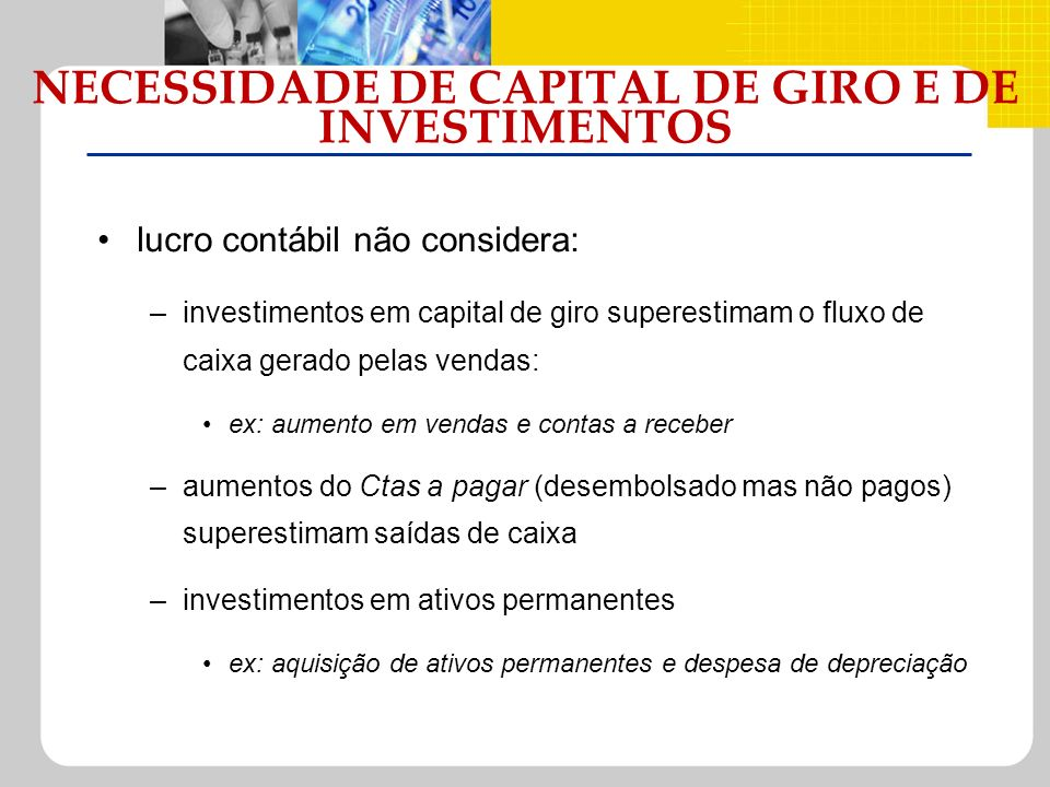 NECESSIDADE DE CAPITAL DE GIRO E DE INVESTIMENTOS
