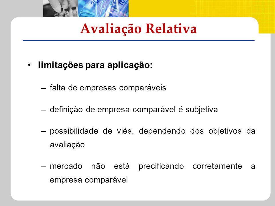 Avaliação Relativa limitações para aplicação: