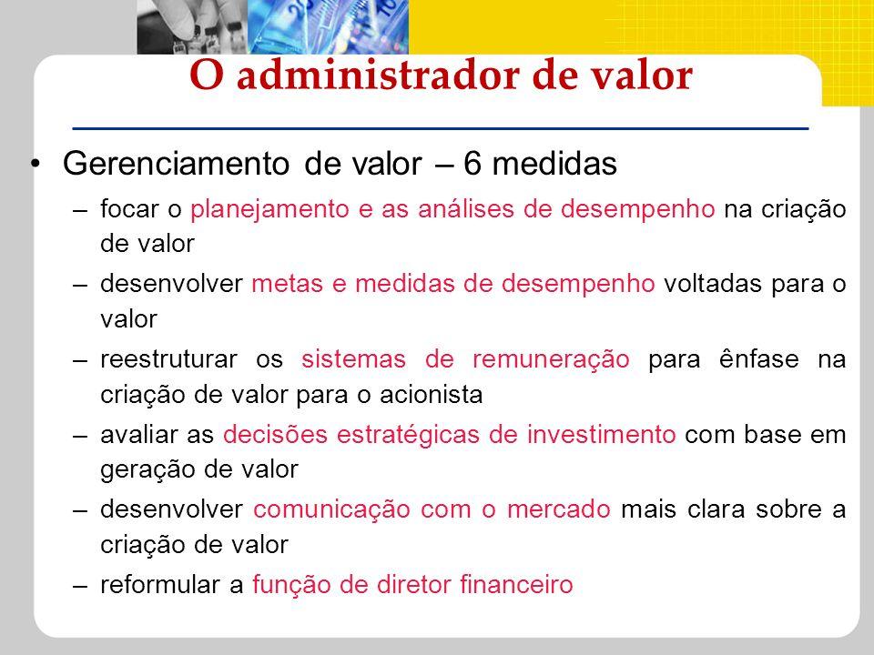 O administrador de valor