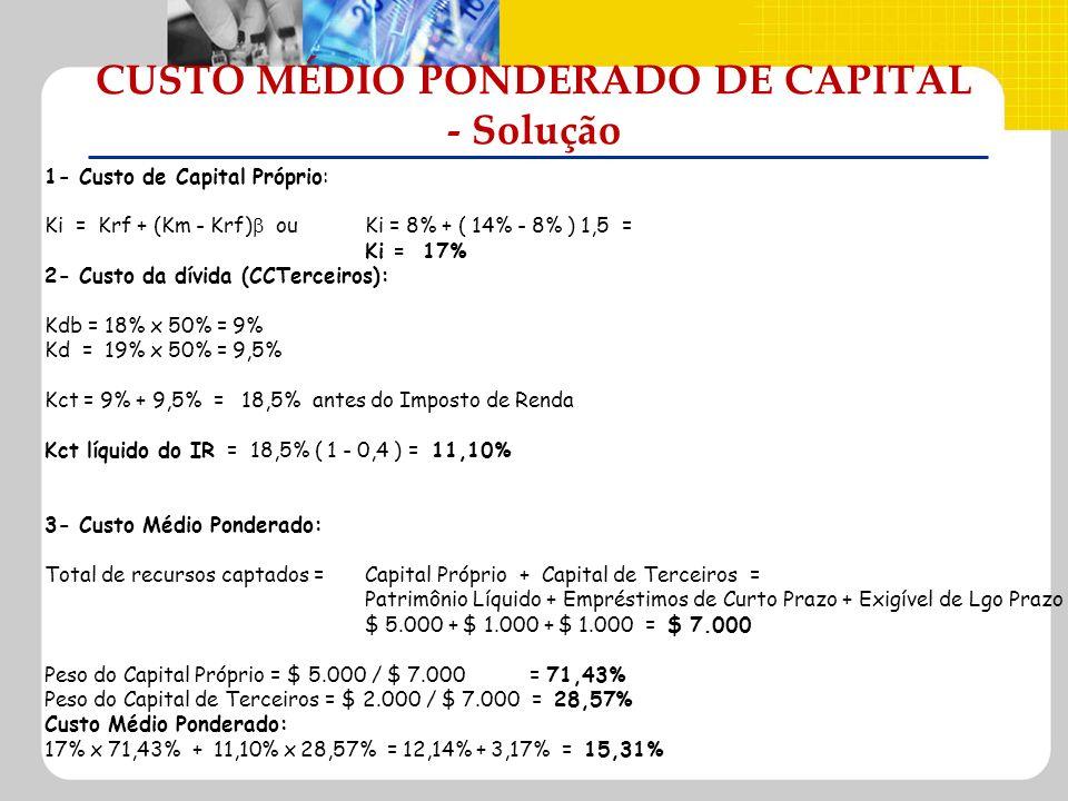 CUSTO MÉDIO PONDERADO DE CAPITAL - Solução