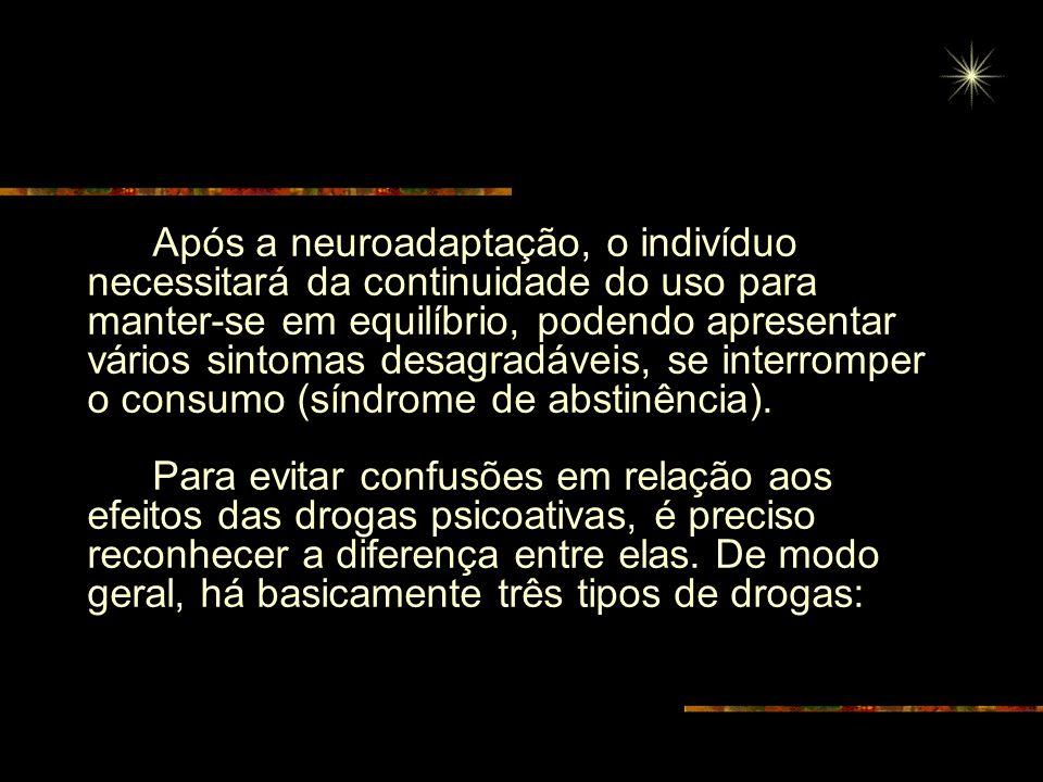 Após a neuroadaptação, o indivíduo necessitará da continuidade do uso para manter-se em equilíbrio, podendo apresentar vários sintomas desagradáveis, se interromper o consumo (síndrome de abstinência).
