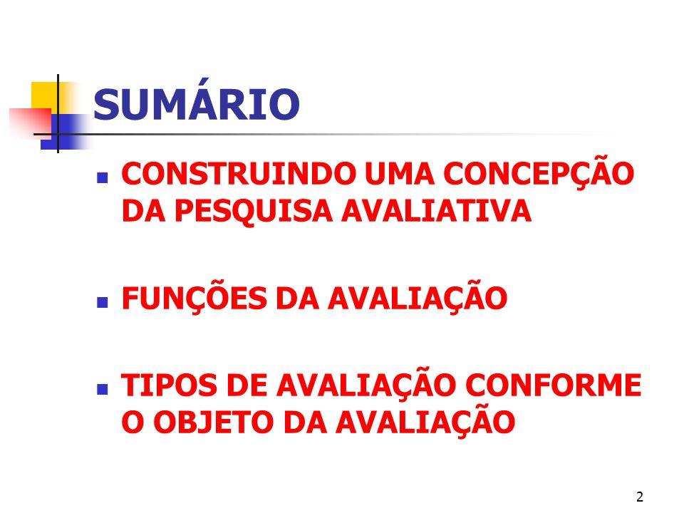 SUMÁRIO CONSTRUINDO UMA CONCEPÇÃO DA PESQUISA AVALIATIVA