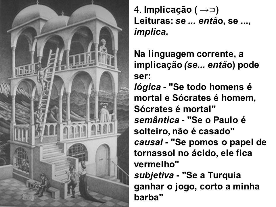 4. Implicação ( →⊃) Leituras: se ... então, se ..., implica. Na linguagem corrente, a implicação (se... então) pode ser: