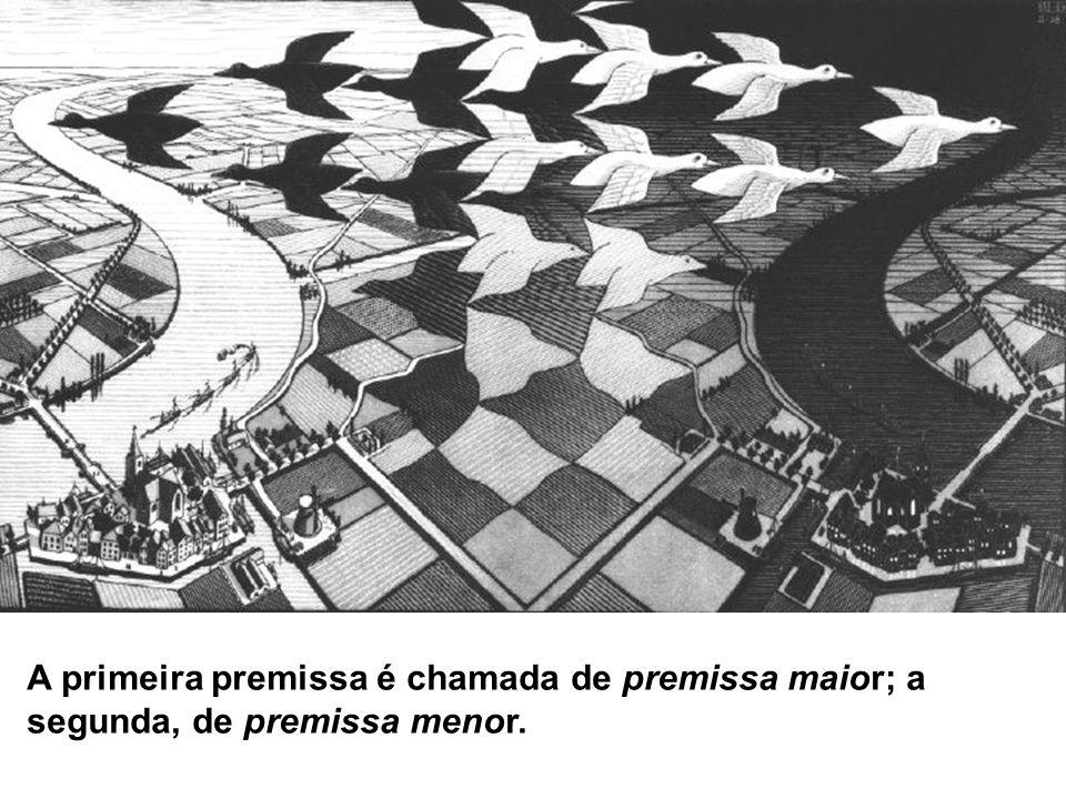 A primeira premissa é chamada de premissa maior; a segunda, de premissa menor.