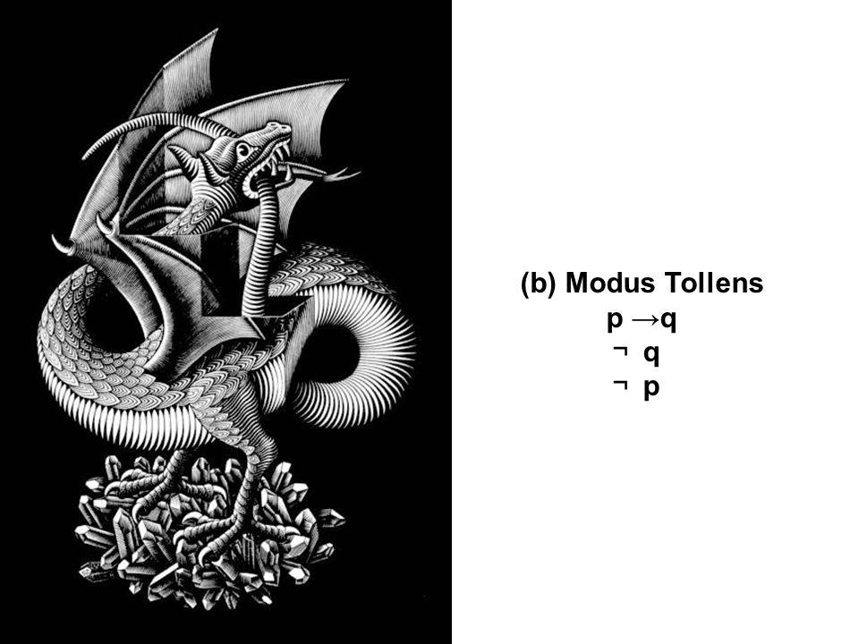 (b) Modus Tollens p →q ¬ q ¬ p