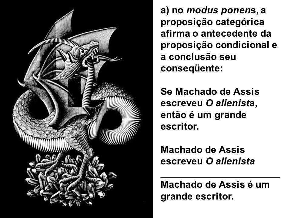 a) no modus ponens, a proposição categórica afirma o antecedente da proposição condicional e a conclusão seu conseqüente: