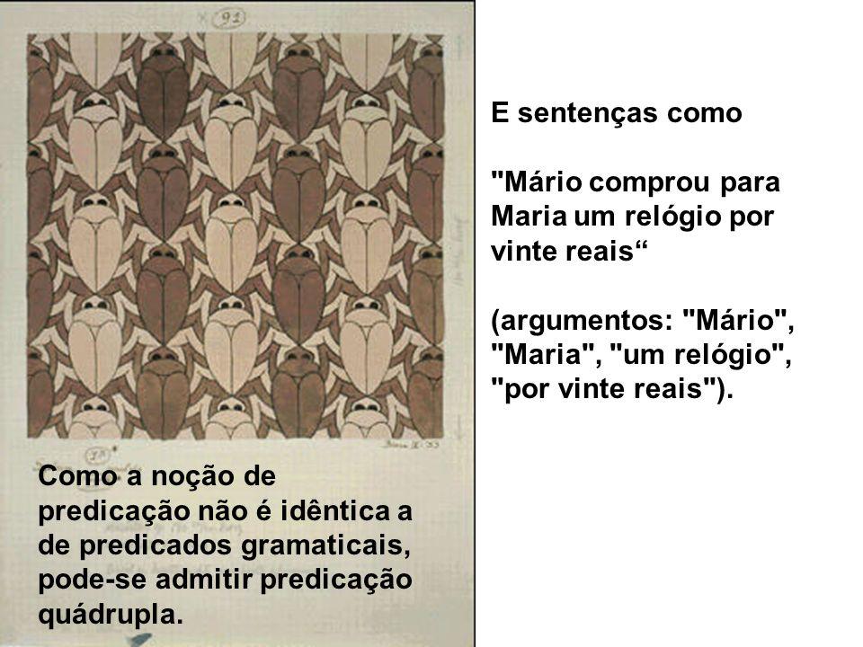 E sentenças como Mário comprou para Maria um relógio por vinte reais (argumentos: Mário , Maria , um relógio , por vinte reais ).
