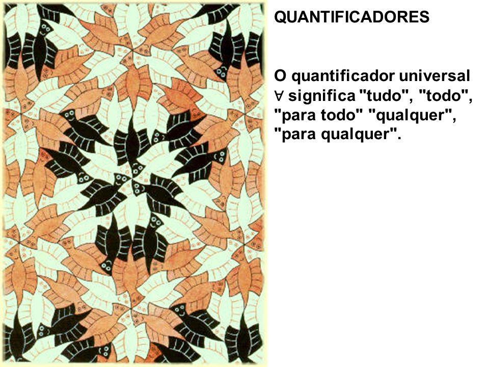 QUANTIFICADORES O quantificador universal ∀ significa tudo , todo , para todo qualquer , para qualquer .