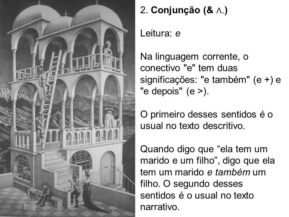 2. Conjunção (& ∧.) Leitura: e. Na linguagem corrente, o conectivo e tem duas significações: e também (e +) e e depois (e >).