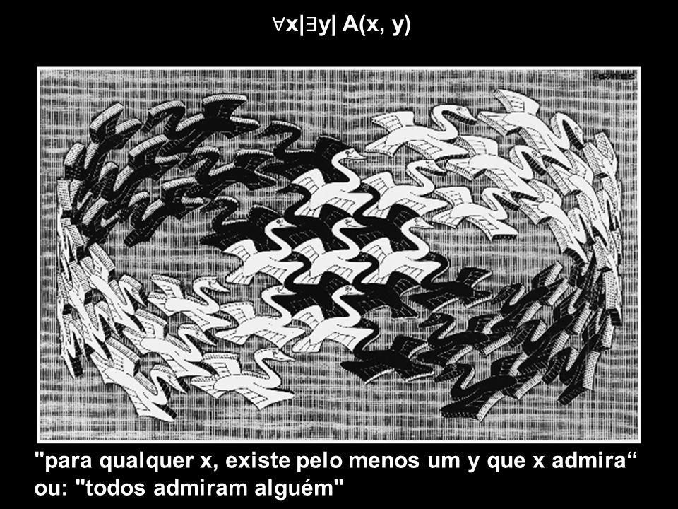 ∀x|∃y| A(x, y) para qualquer x, existe pelo menos um y que x admira ou: todos admiram alguém