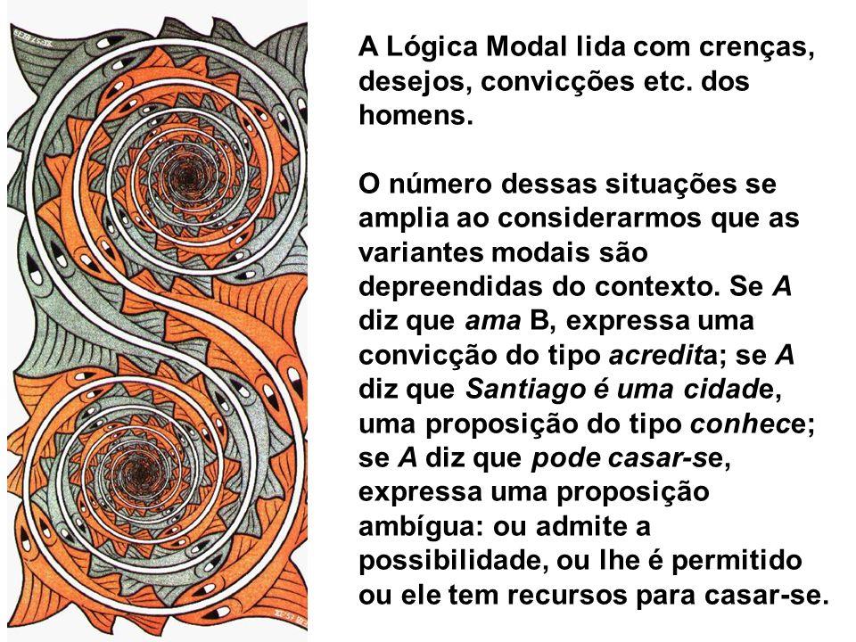 A Lógica Modal lida com crenças, desejos, convicções etc. dos homens.