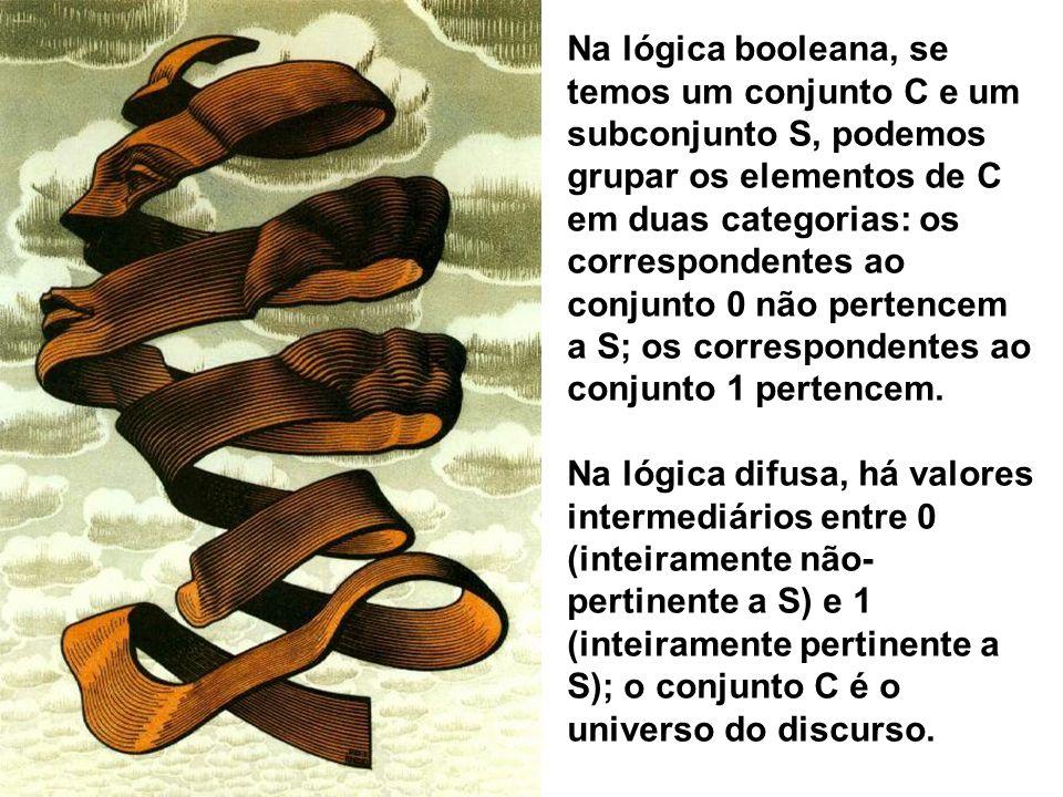 Na lógica booleana, se temos um conjunto C e um subconjunto S, podemos grupar os elementos de C em duas categorias: os correspondentes ao conjunto 0 não pertencem a S; os correspondentes ao conjunto 1 pertencem.