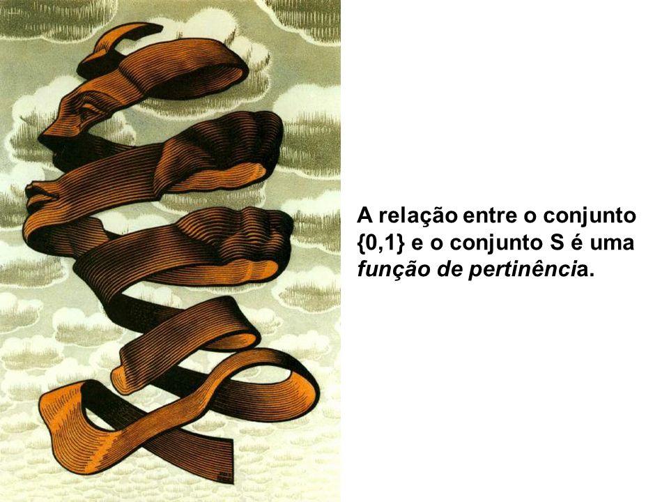 A relação entre o conjunto {0,1} e o conjunto S é uma função de pertinência.