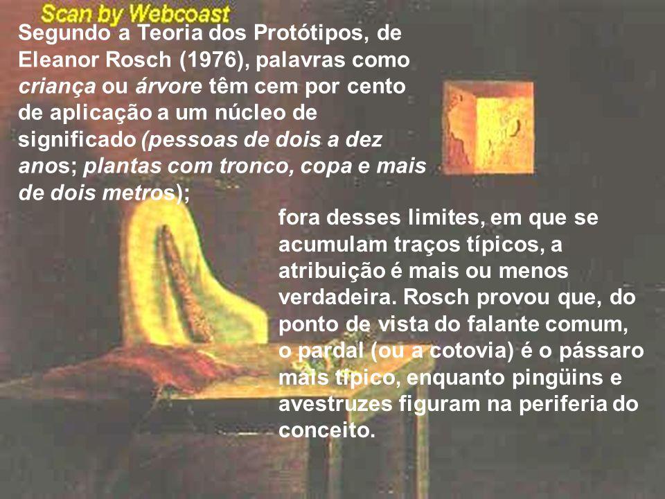 Segundo a Teoria dos Protótipos, de Eleanor Rosch (1976), palavras como criança ou árvore têm cem por cento de aplicação a um núcleo de significado (pessoas de dois a dez anos; plantas com tronco, copa e mais de dois metros);