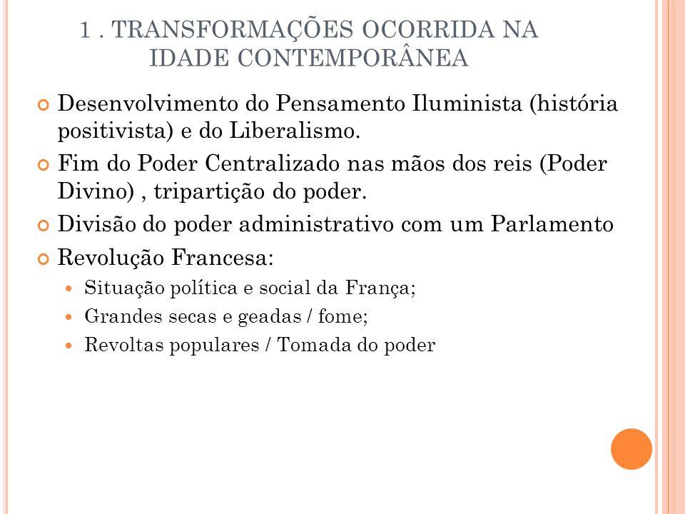 1 . TRANSFORMAÇÕES OCORRIDA NA IDADE CONTEMPORÂNEA