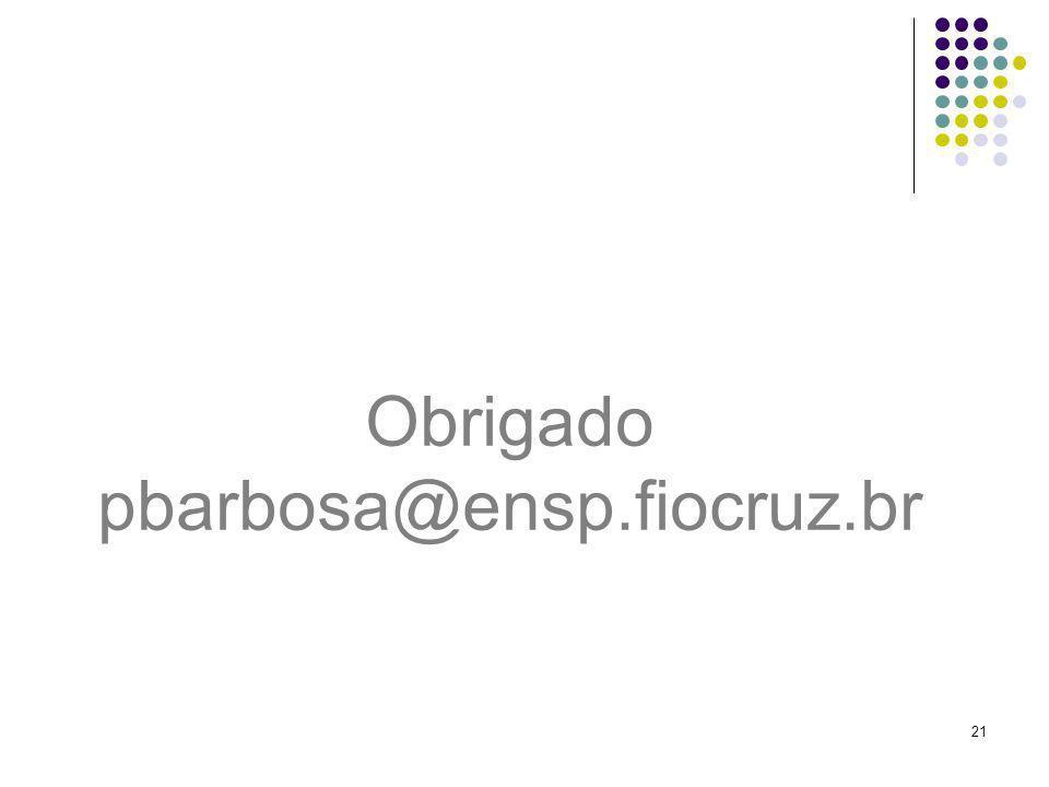 Obrigado pbarbosa@ensp.fiocruz.br