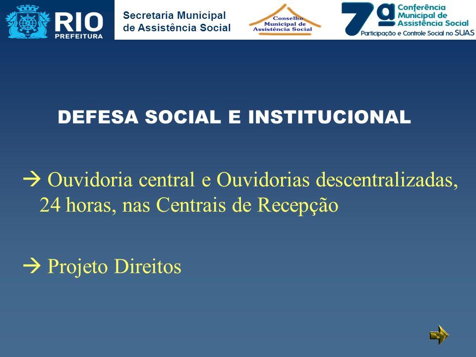 DEFESA SOCIAL E INSTITUCIONAL