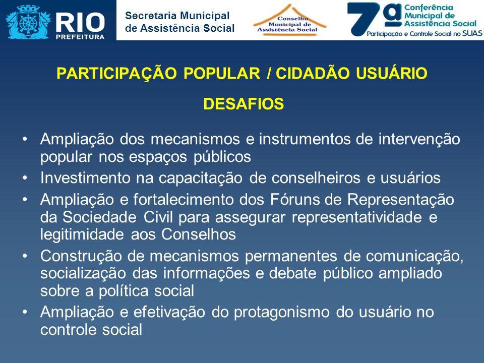 PARTICIPAÇÃO POPULAR / CIDADÃO USUÁRIO