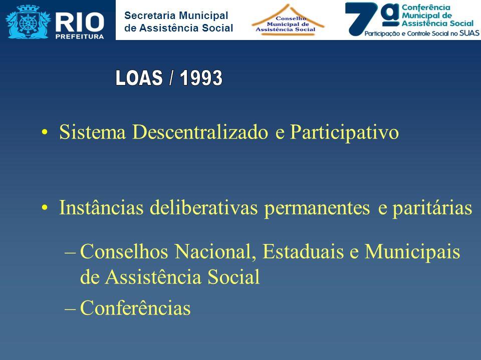 LOAS / 1993 Sistema Descentralizado e Participativo
