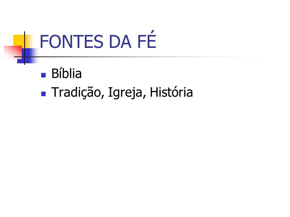 FONTES DA FÉ Bíblia Tradição, Igreja, História