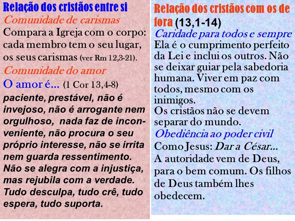 Relação dos cristãos entre si Comunidade de carismas Compara a Igreja com o corpo: cada membro tem o seu lugar, os seus carismas (ver Rm 12,3-21).