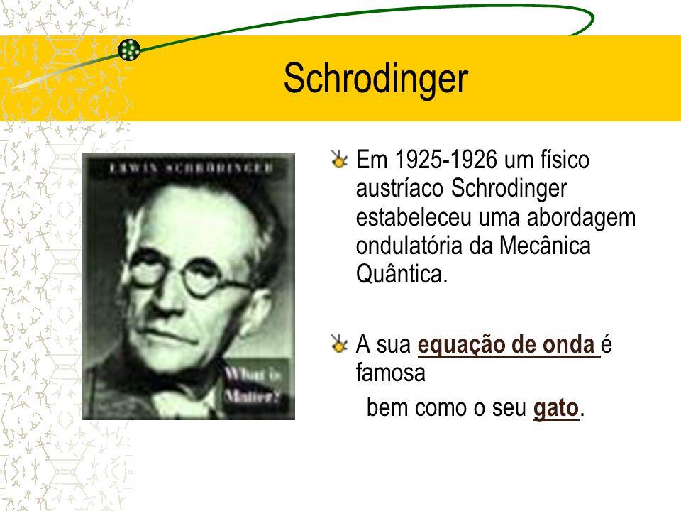 Schrodinger Em 1925-1926 um físico austríaco Schrodinger estabeleceu uma abordagem ondulatória da Mecânica Quântica.