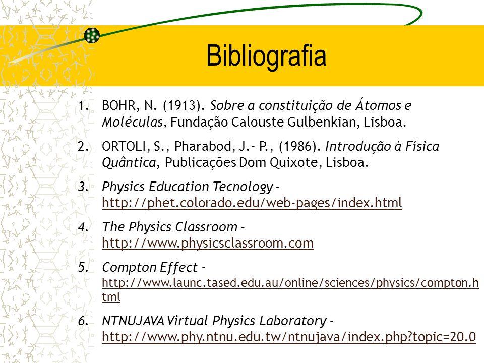 Bibliografia BOHR, N. (1913). Sobre a constituição de Átomos e Moléculas, Fundação Calouste Gulbenkian, Lisboa.