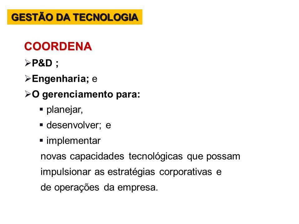 COORDENA GESTÃO DA TECNOLOGIA P&D ; Engenharia; e