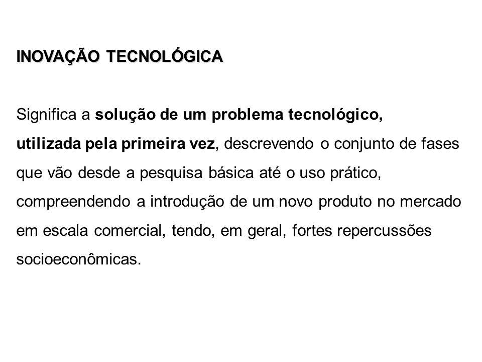 INOVAÇÃO TECNOLÓGICA Significa a solução de um problema tecnológico,