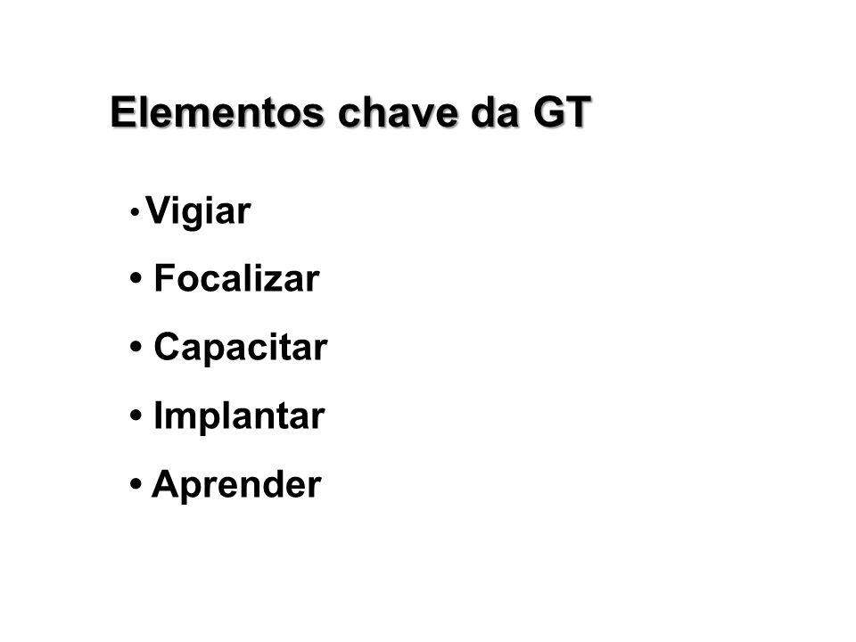 Elementos chave da GT • Focalizar • Capacitar • Implantar • Aprender