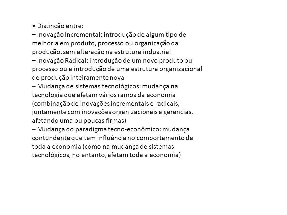 • Distinção entre: – Inovação Incremental: introdução de algum tipo de. melhoria em produto, processo ou organização da.