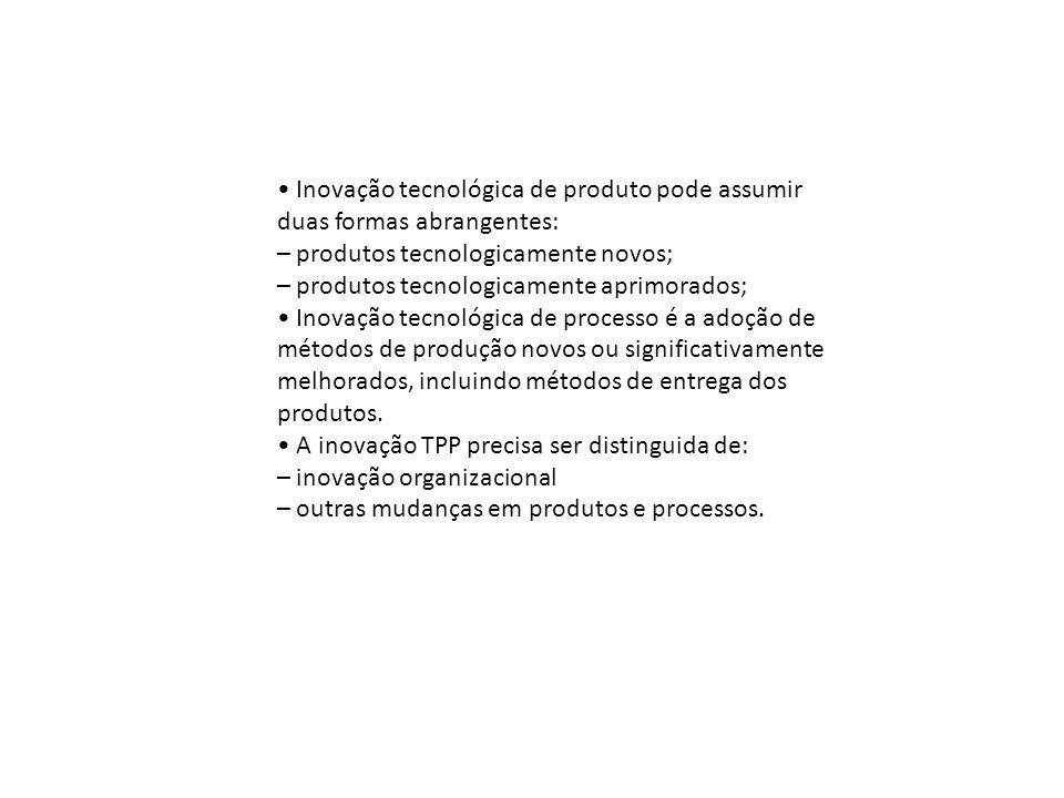 • Inovação tecnológica de produto pode assumir