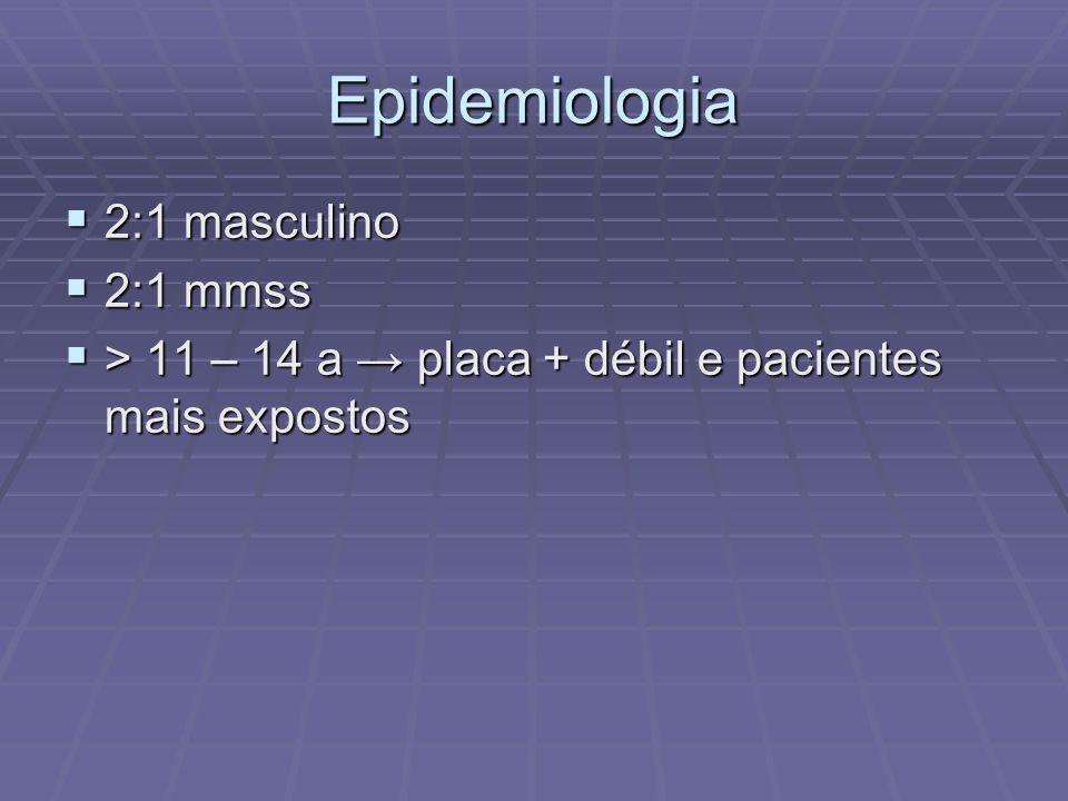 Epidemiologia 2:1 masculino 2:1 mmss