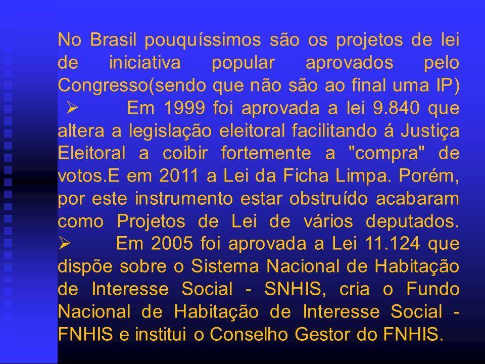 No Brasil pouquíssimos são os projetos de lei de iniciativa popular aprovados pelo Congresso(sendo que não são ao final uma IP)  Em 1999 foi aprovada a lei 9.840 que altera a legislação eleitoral facilitando á Justiça Eleitoral a coibir fortemente a compra de votos.E em 2011 a Lei da Ficha Limpa.