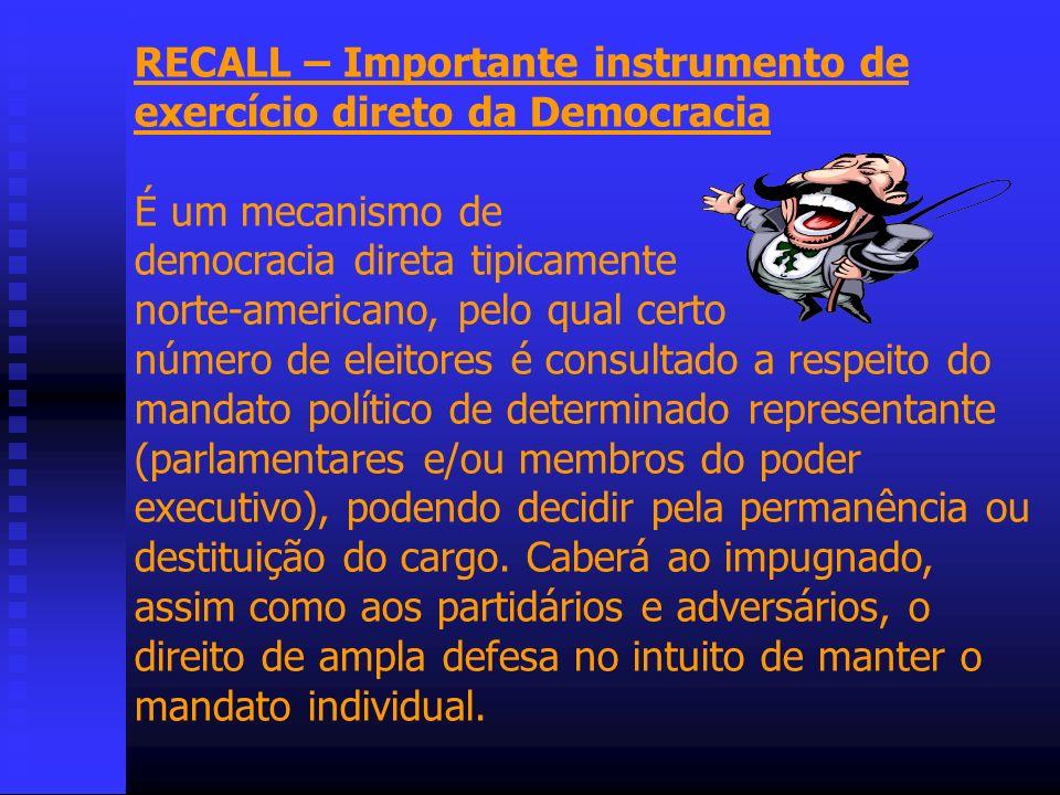 RECALL – Importante instrumento de exercício direto da Democracia
