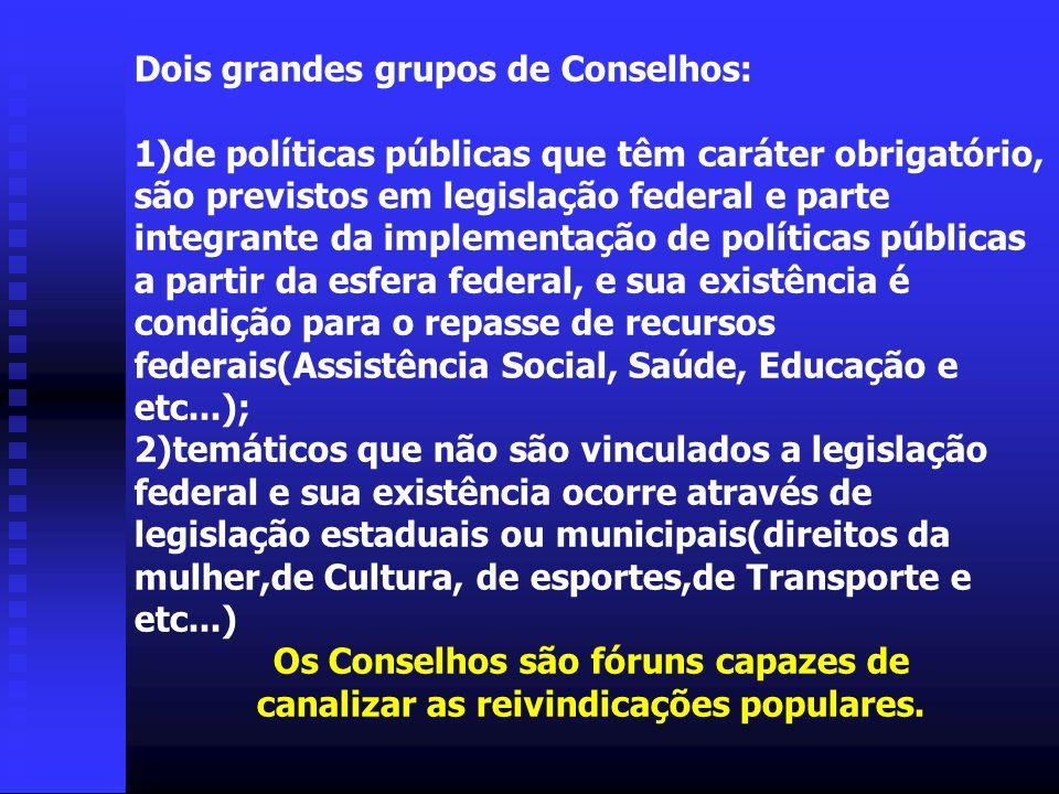 Dois grandes grupos de Conselhos: