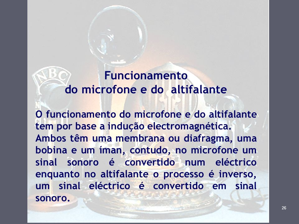 do microfone e do altifalante
