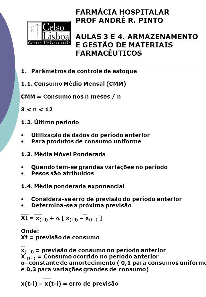 FARMÁCIA HOSPITALAR PROF ANDRÉ R. PINTO AULAS 3 E 4. ARMAZENAMENTO