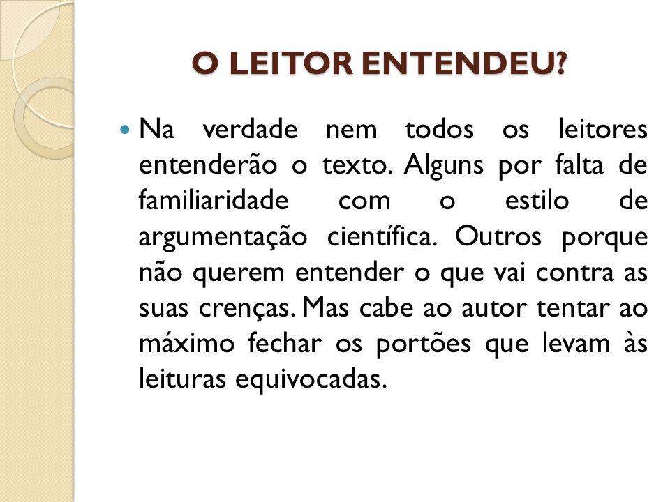 O LEITOR ENTENDEU