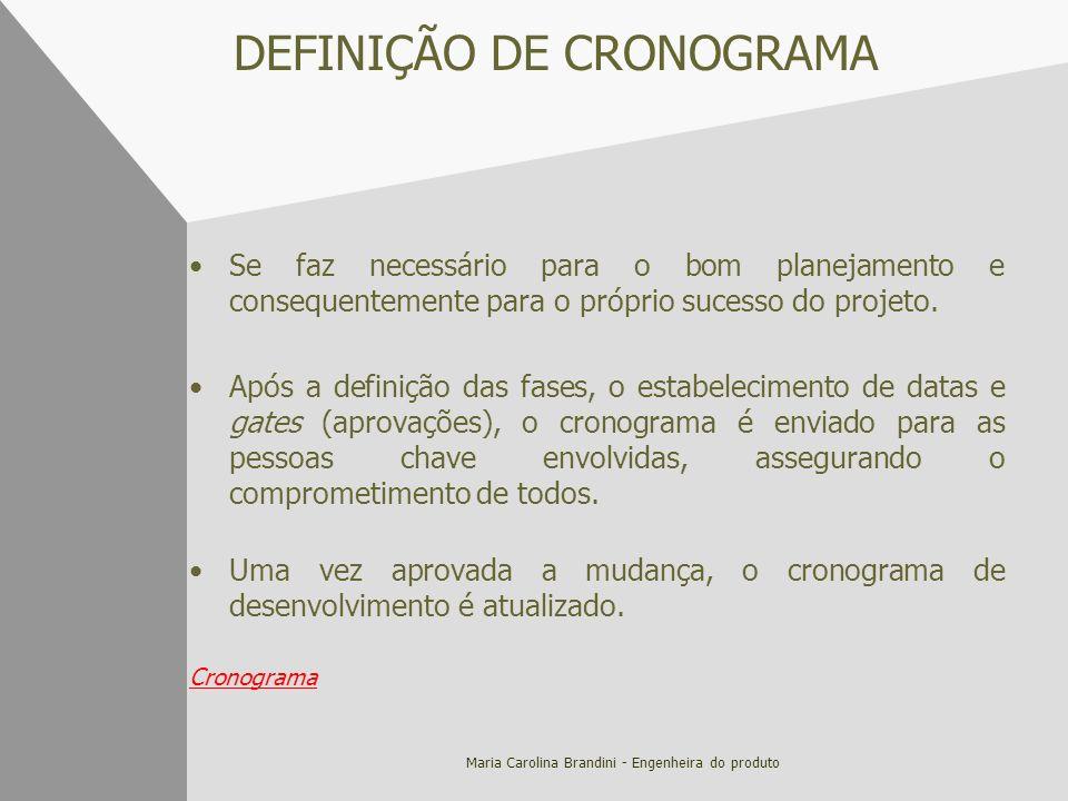 DEFINIÇÃO DE CRONOGRAMA