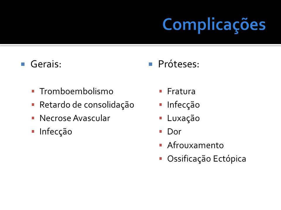 Complicações Gerais: Próteses: Tromboembolismo Retardo de consolidação
