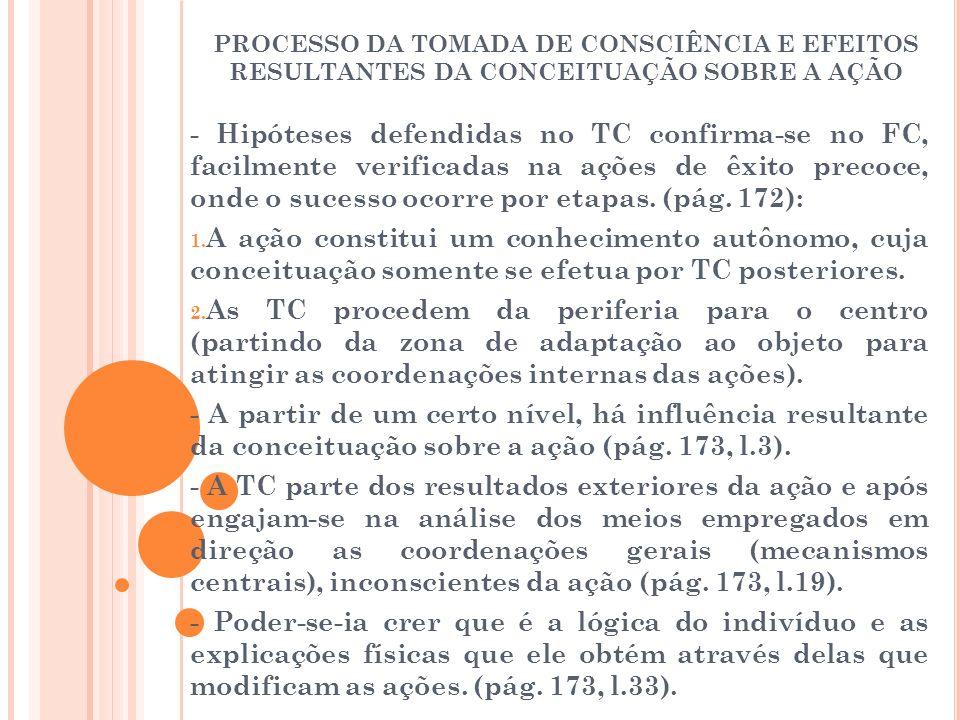 PROCESSO DA TOMADA DE CONSCIÊNCIA E EFEITOS RESULTANTES DA CONCEITUAÇÃO SOBRE A AÇÃO