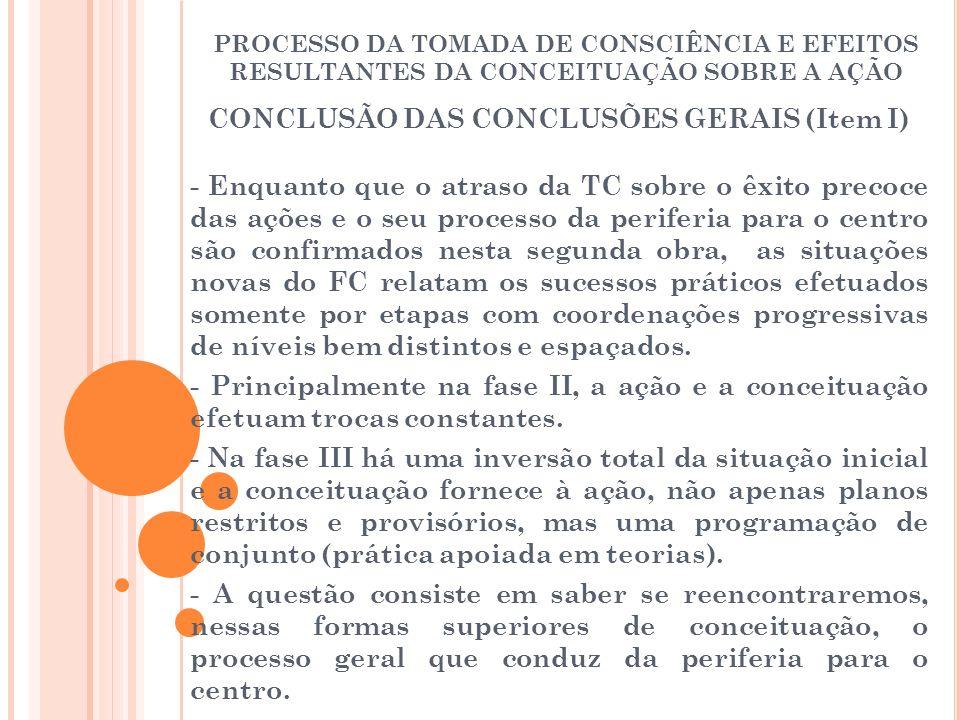 CONCLUSÃO DAS CONCLUSÕES GERAIS (Item I)