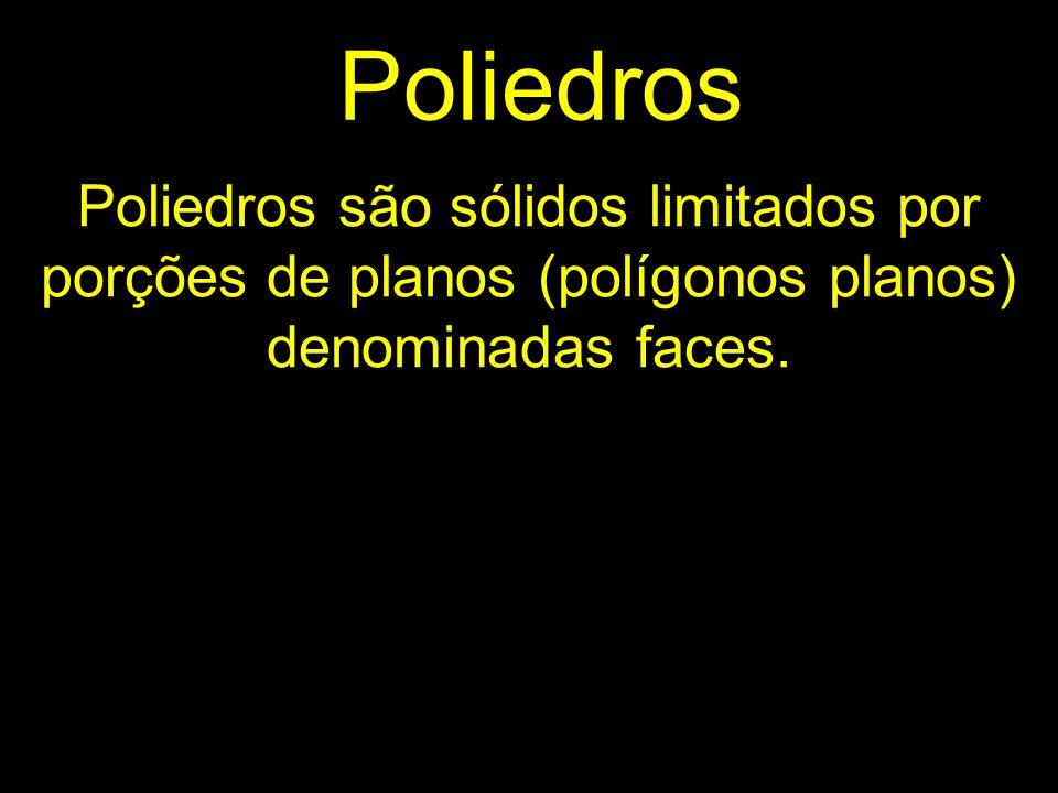 Poliedros Poliedros são sólidos limitados por porções de planos (polígonos planos) denominadas faces.