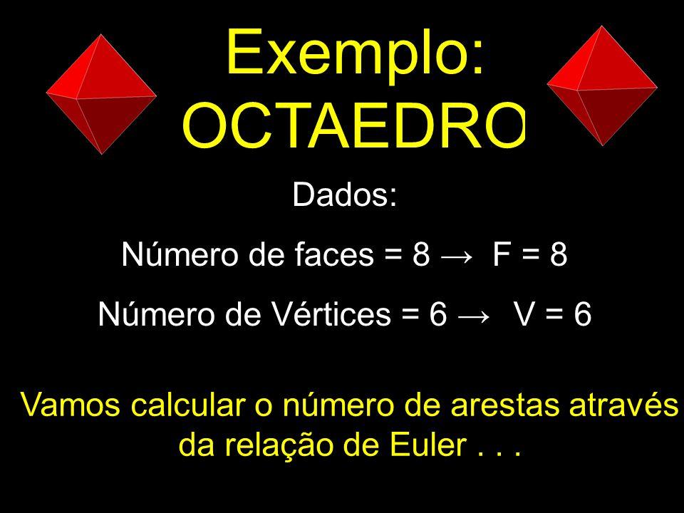 Exemplo: OCTAEDRO Dados: Número de faces = 8 → F = 8