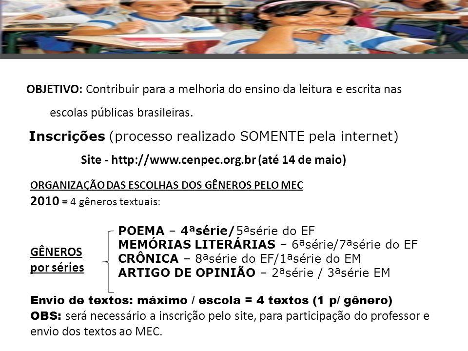 Site - http://www.cenpec.org.br (até 14 de maio)